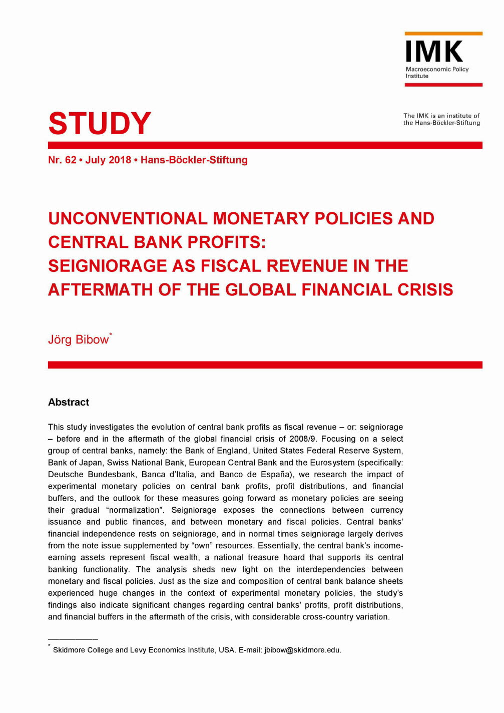 Unconventional monetary policies and central bank profits