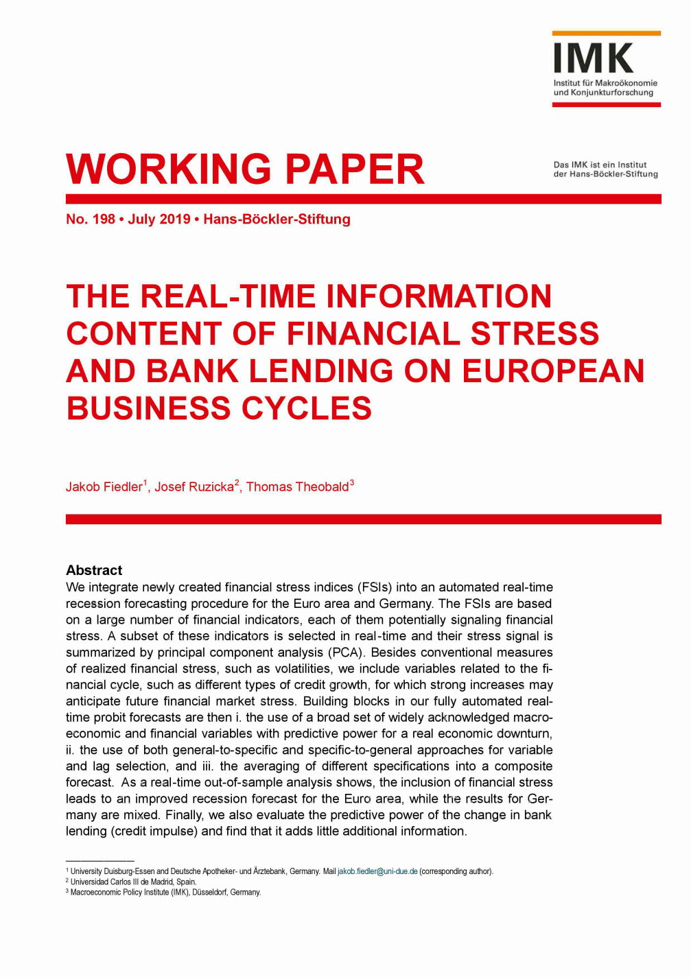 The Real-time information content of financial stress and bank lending on European business cycles