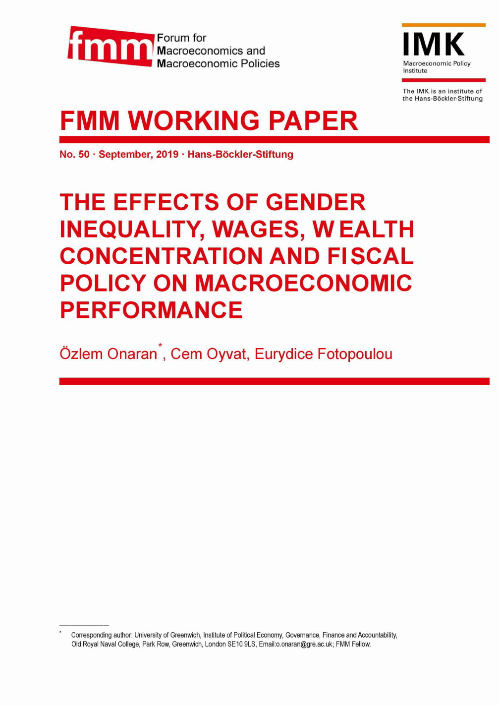 The effects of gender inequality, wages, wealth concentration and fiscal policy on macroeconomic performance