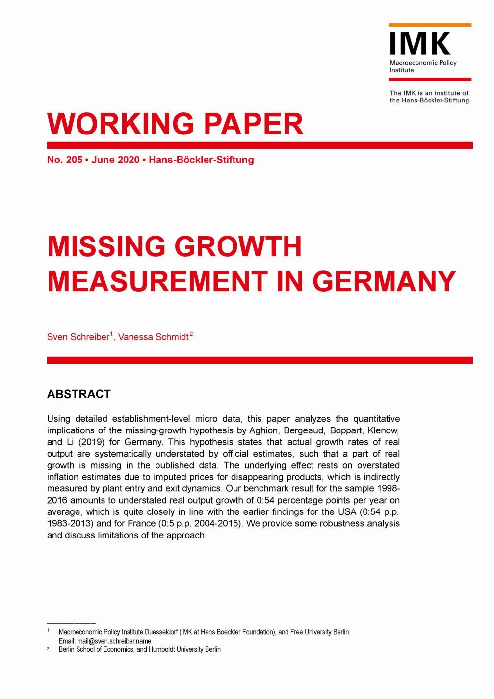 Missing growth measurement in Germany