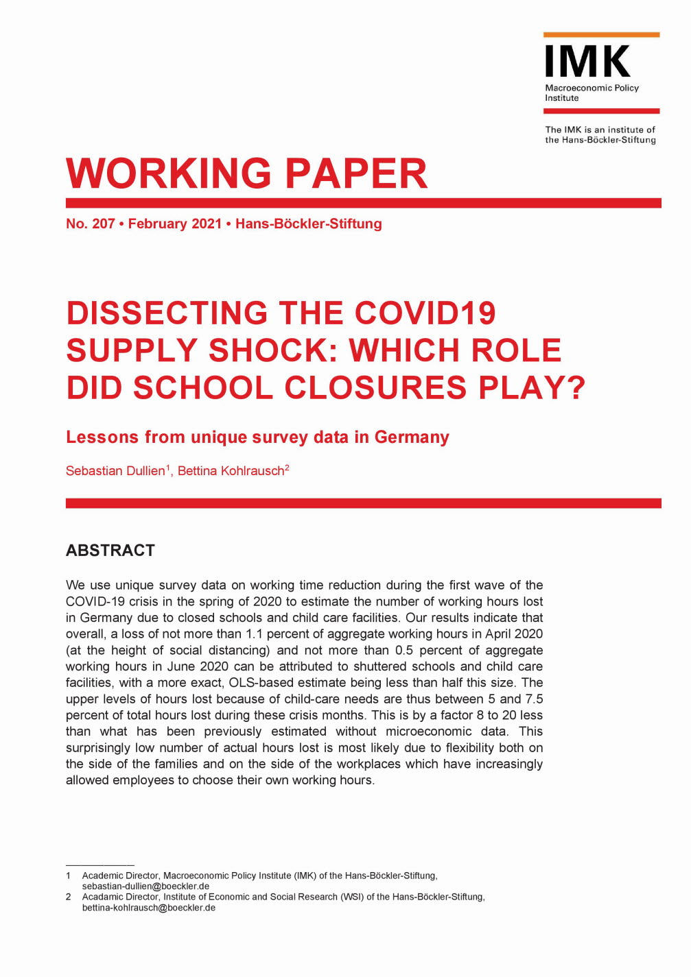 Dissecting the COVID19 supply shock: Which role did school closures play?